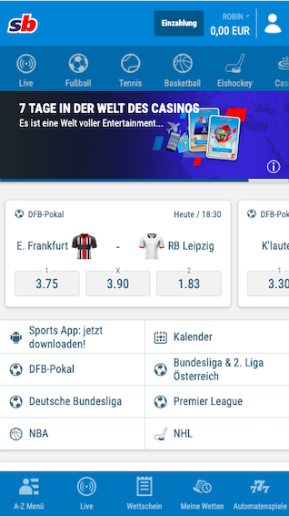 Startseite der Sportingbet Wett App