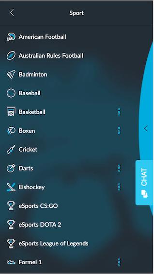Sportwetten-Angebot in der mobilen Betvictor App