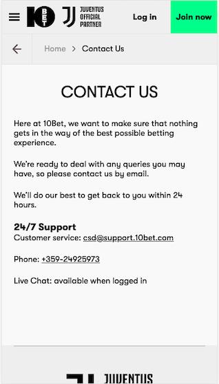 Kontakt und Support und der 10bet mobile App für Android APK und iPhone