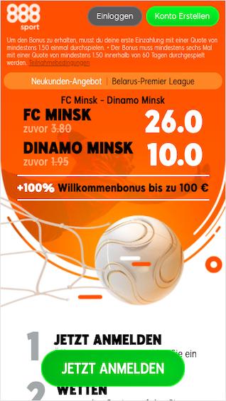 888sport Quotenboost für Neukunden bei FC Minsk gegen Dinamo Minsk