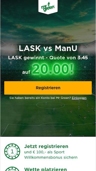 Mr Green Megaquote für das Europa League Achtelfinale zwischen dem LASK und Manchester United