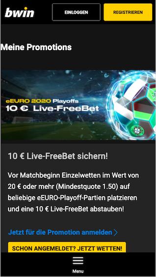 Live-Freiwette in der Bwin App für Android & iPhone für die eEURO 2020 Playoffs