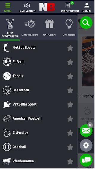 Menü der NetBet mobile App für Android und iPhone