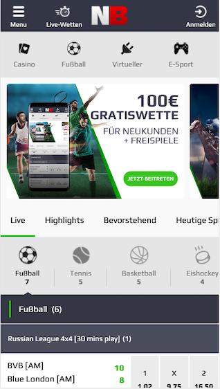 Startseite der Netbet Wetten App für Android & iPhone