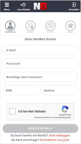Registrierung in der Netbet Sportwetten App für Android & iPhone