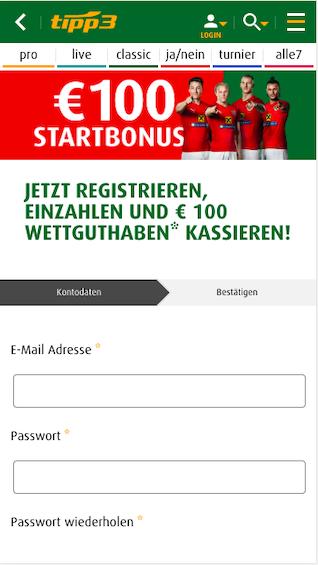 Registrierung in der Tipp3 Sportwetten App für Android und Apple