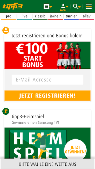 Startseite der Tipp3 mobile App für Android APK und iPhone