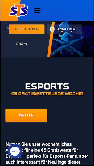 Sichere dir deine 5 Euro eSports Gratiswette in der STSbet App für Android und iPhone