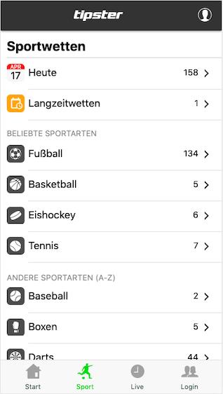 Wettprogramm in der Tipster Webapp für Android und iPhone