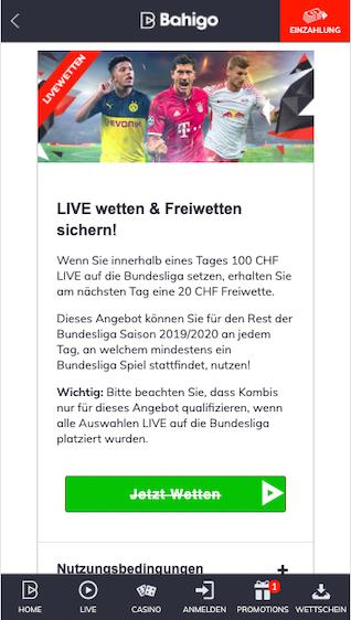 Bundesliga Freiwette in der Bahigo App für Android & iPhone