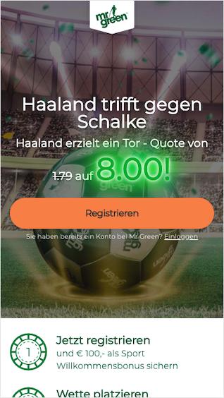 Quotenboost für die Haaland-Tor-Wette beim Revier-Derby in der Mr. Green Android & iPhone App