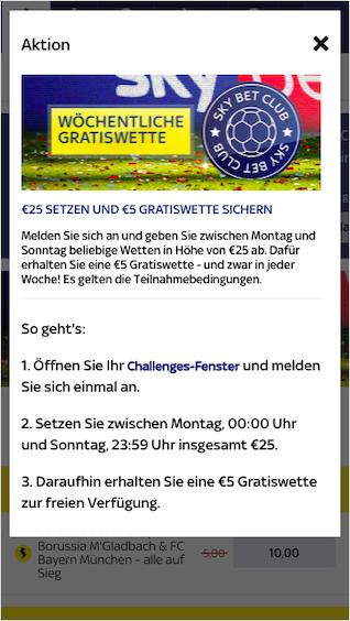 Wöchentliche Gratiswette für den Bundesliga Tipp in der Sky Bet App für Android & iPhone