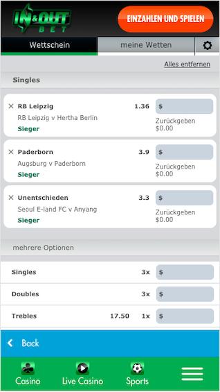Wettschein in der InAndOutBet Sportwetten App für Android & iPhone