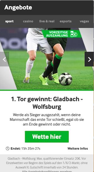 Das erste Tor zwischen Mönchengladbach und Wolfsburg gewinnt die Wette in der Betway App für Android & iPhone