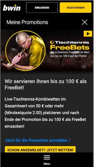 Sichere dir bis zu 100 Euro Tischtennis Freebet in der Bwin App für Android & iPhone