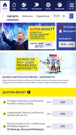 Quotenboosts am 30. Spieltag der deutschen Bundesliga in der Sky Bet App für Android & iPhone