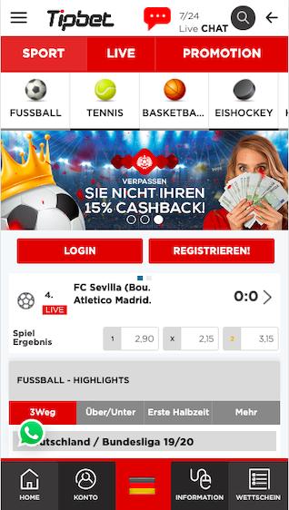 Startseite der Tipbet Wett App für Android & iPhone