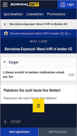 Quotenboost für das Derbi Barceloni zwischen FC Barcelona & Espanyol in der Admiralbet App für Android & iPhone
