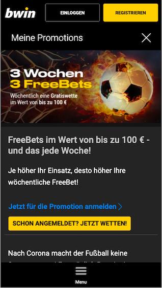 Sichere dir mit Fußball-Kombi-Wetten 3 Freebets in 3 Wochen in der Bwin App für Android & iPhone