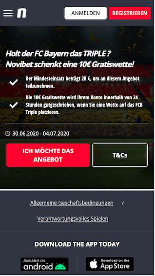 Auf das Bayern Triple wetten und Gratiswette in der Novibet App für Android & iPhone kassieren