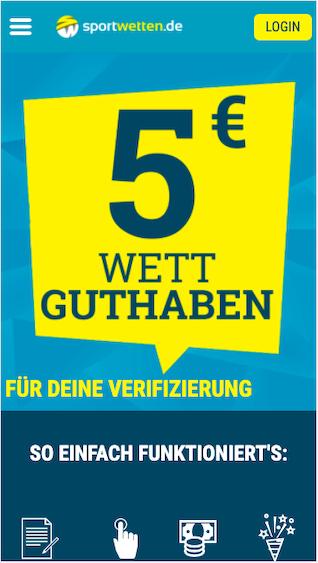 5 Euro Wettbonus in der Sportwetten.de App für Android & iPhone