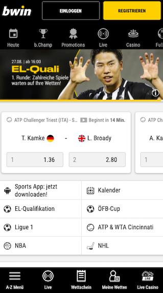 Startseite der Bwin Android APK App