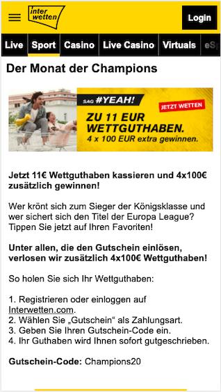 11 Euro Gratiswette für die Champions League mit Bayern München in der Interwetten App für Android & iPhone