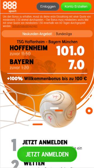 Quotenboost in der Bundesliga für Hoffenheim - Bayern München in der 888sport App für Android & iPhone