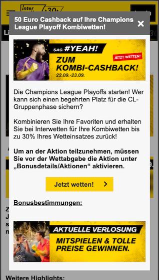Kombi-Wetten-Cashback für die Champions League Qualifikation in der Interwetten App für Android & iPhone