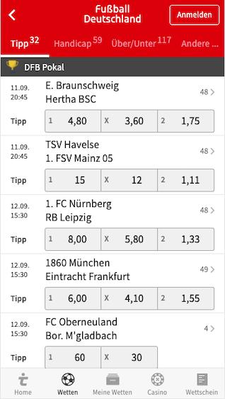 Gratiswette für die erste Runde des DFB Pokals in der Tipico App für Android & iPhone