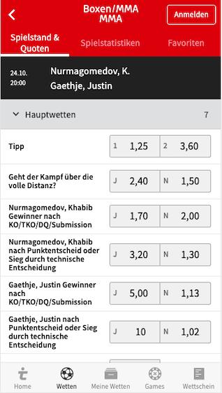 UFC Wetten & Quoten für Khabib Nurmagomedov vs. Justin Gaethje in der Tipico App für Android & iPhone