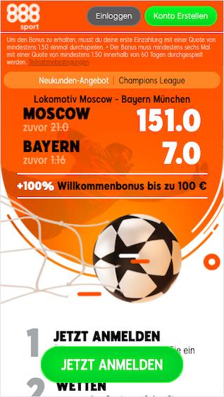 Quotenboost für Lok Moskau - Bayern München in der 888sport App für Android & iPhone