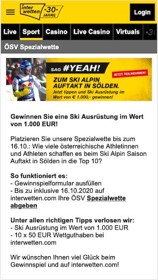 ÖSV Spezialwette mit gratis Wettguthaben bei Ski Alpin in Sölden in der Interwetten App für Android & iPhone