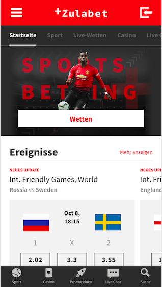 Startseite der Zulabet App für Android & iPhone