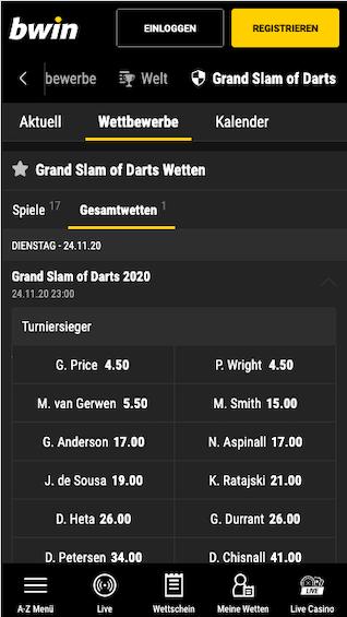 Alle Grand Slam of Darts 2020 Wetten & Quoten in der Bwin App für Android & iPhone