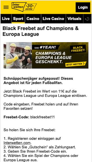11 Euro Blackfreebet Gratiswette in der Interwetten App für Android & iPhone