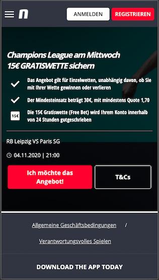 15 Euro Gratiswette bei RB Leipzig - Paris Saint-Germain in der Novibet App für Android & iPhone