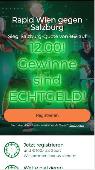 Quotenboost bei Rapid Wien - Red Bull Salzburg in der Mr Green App für Android & iPhone