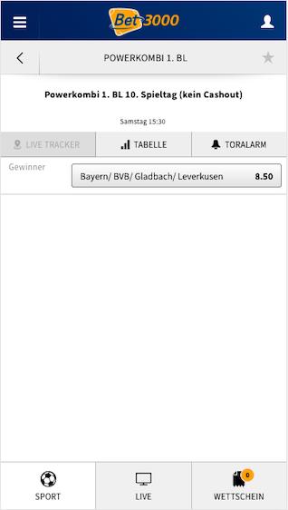 Powerkombi für die Bayern, BVB, Gladbach & Leverkusen für die Bundesliga in der Bet3000 App für Android & iPhone