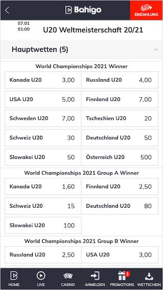 Alle Wetten & Quoten zur Eishockey-U20-WM 2020 in Edmonton, Kanada in der Bahigo App
