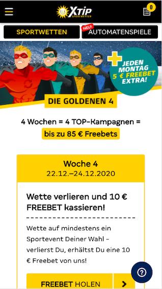 Freebet in Woche 4 der Goldenen 4 in der Merkur Sports App für Android & iPhone
