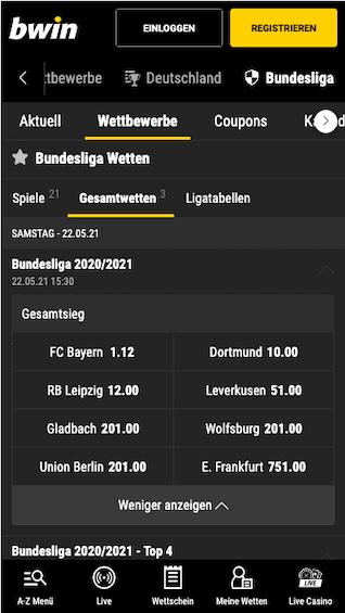 Bundesliga Quoten & Wetten für die Saison 2020/21 in der Bwin Sports App für Android & iPhone
