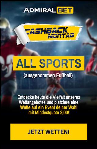 Cashback-Montag in der Admiralbet App für Android & iPhone