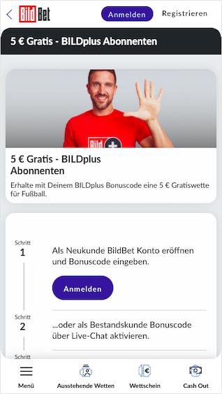 5 Euro Freebet für alle BildPLUS-Abonnenten in der Bildbet App für Android & iPhone