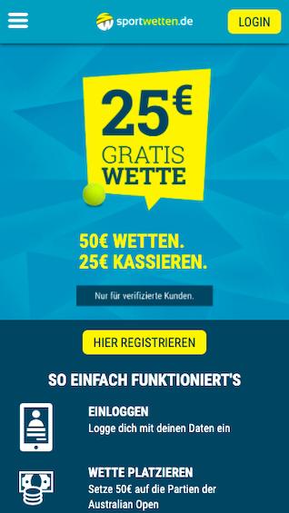 25 Euro Freebet für die Australian Open in der Sportwetten.de App für Android & iPhone