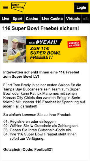 11 Euro Super Bowl LV Freebet in der Interwetten App für Android & iPhone