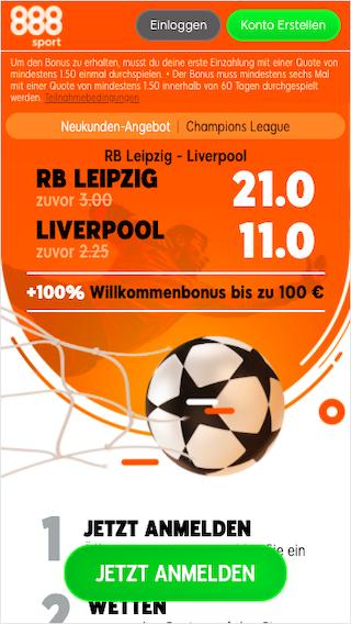 Quotenboost für RB Leipzig - Liverpool in der Champions League mit der 888sport App für Android & iPhone