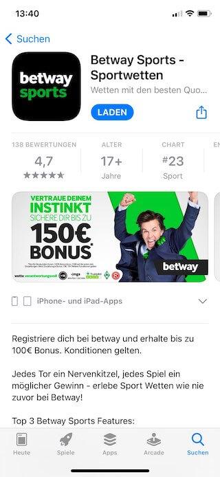 Alle Infos zur Betway iOS App für iPhone und iPad