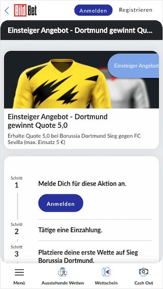 Quotenboost für Dortmund gegen Sevilla in der BildBet App für Android & iPhone