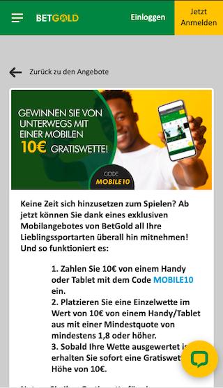10 Euro Gratiswette für deine Einzahlung vom mobilen Endgerät in der Betgold App für Android & iPhone